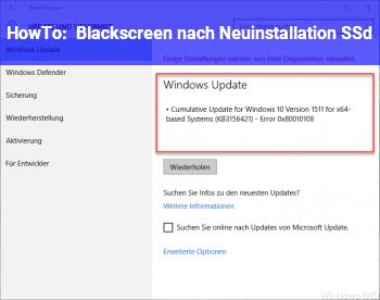 HowTo Blackscreen nach Neuinstallation SSd