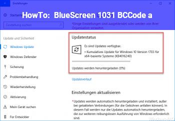 HowTo BlueScreen 1031 BCCode a