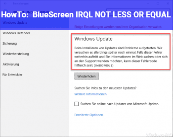 HowTo BlueScreen IRQL_NOT_LESS_OR_EQUAL