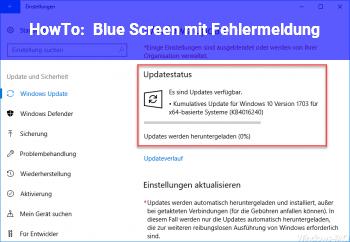 HowTo Blue Screen mit Fehlermeldung.