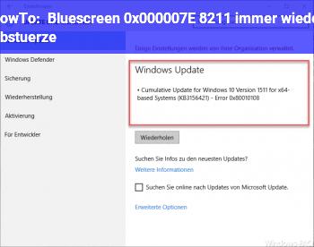 HowTo Bluescreen 0x000007E – immer wieder Abstürze