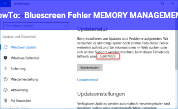 HowTo Bluescreen Fehler: MEMORY_MANAGEMENT