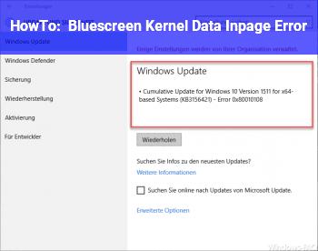 HowTo Bluescreen Kernel_Data_Inpage_Error