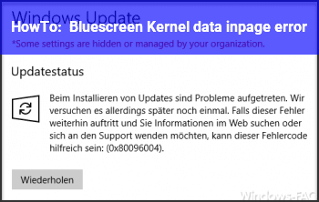 HowTo Bluescreen Kernel data inpage error