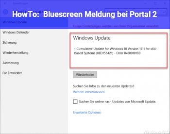 HowTo Bluescreen Meldung bei Portal 2