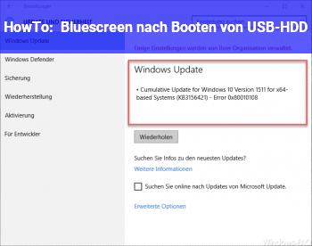 HowTo Bluescreen nach Booten von USB-HDD