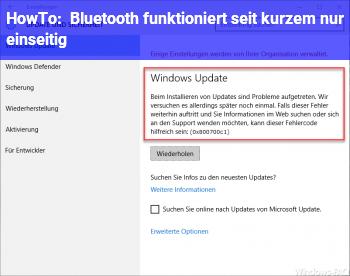 HowTo Bluetooth funktioniert seit kurzem nur einseitig