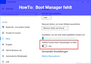 HowTo Boot Manager fehlt.