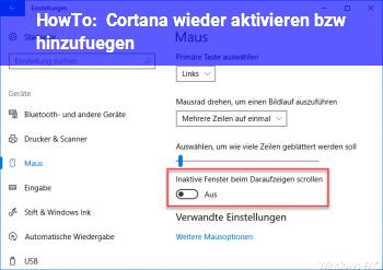 HowTo Cortana wieder aktivieren bzw. hinzufügen
