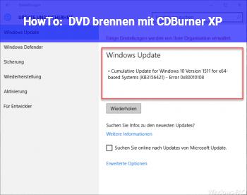 HowTo DVD brennen mit CDBurner XP