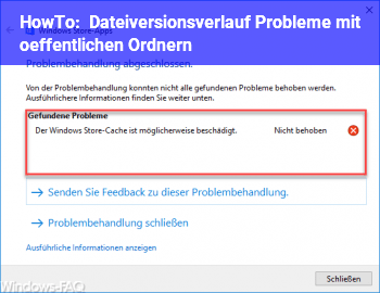 HowTo Dateiversionsverlauf Probleme mit öffentlichen Ordnern