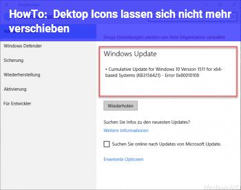 HowTo Dektop Icons lassen sich nicht mehr verschieben