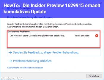HowTo Die Insider Preview 16299.15 erhält kumulatives Update