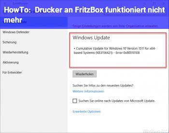 HowTo Drucker an Fritz!Box funktioniert nicht mehr