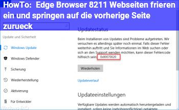 HowTo Edge Browser – Webseiten frieren ein und springen auf die vorherige Seite zurück
