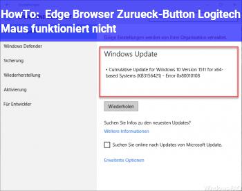 HowTo Edge Browser / Zurück-Button Logitech Maus funktioniert nicht