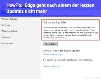 HowTo Edge geht nach einem der letzten Updates nicht mehr