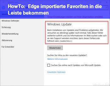 HowTo Edge importierte Favoriten in die Leiste bekommen