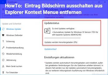"""HowTo Eintrag """"Bildschirm ausschalten"""" aus Explorer Kontext Menü entfernen"""