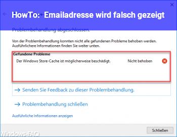 HowTo Emailadresse wird falsch gezeigt