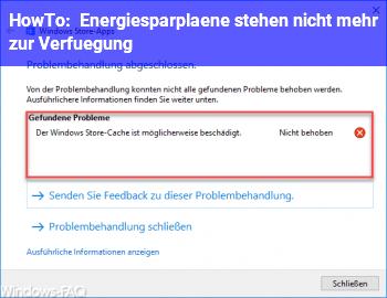 HowTo Energiesparpläne stehen nicht mehr zur Verfügung