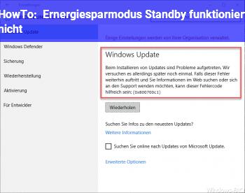 HowTo Ernergiesparmodus / Standby funktioniert nicht