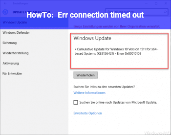 HowTo Err_connection_timed_out