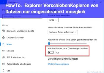HowTo Explorer: Verschieben/Kopieren von Dateien nur eingeschränkt möglich