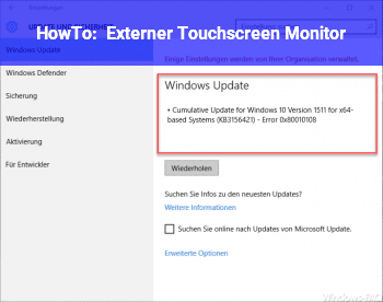 HowTo Externer Touchscreen Monitor
