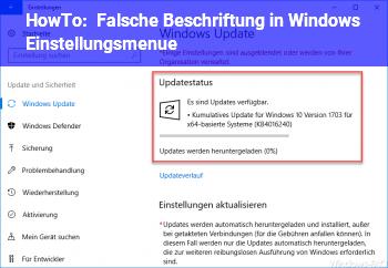 """HowTo Falsche """"Beschriftung"""" in Windows Einstellungsmenü"""