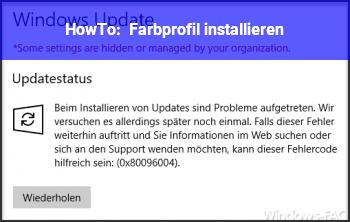 HowTo Farbprofil installieren ?