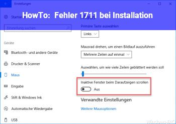 HowTo Fehler 1711 bei Installation