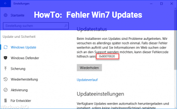 HowTo Fehler Win7 Updates