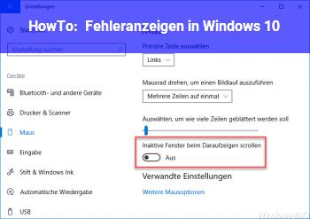HowTo Fehleranzeigen in Windows 10
