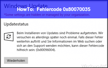 HowTo Fehlercode : 0x80070035