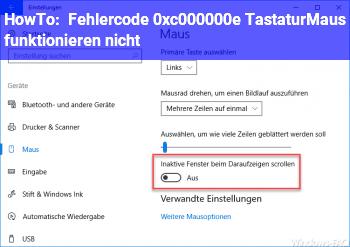 HowTo Fehlercode 0xc000000e Tastatur/Maus funktionieren nicht!