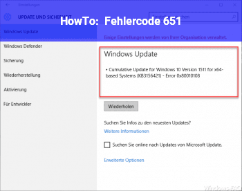 HowTo Fehlercode 651