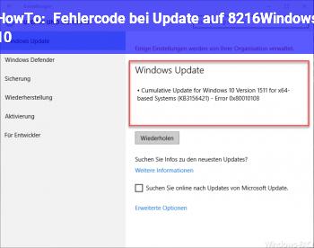 HowTo Fehlercode bei Update auf 'Windows 10