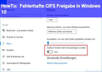HowTo Fehlerhafte CIFS Freigabe in Windows 10?