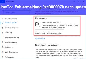 HowTo Fehlermeldung 0xc000007b nach update