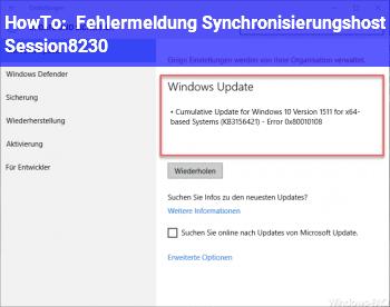 HowTo Fehlermeldung: Synchronisierungshost_Session…