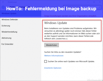 HowTo Fehlermeldung bei Image backup