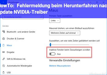 HowTo Fehlermeldung beim Herunterfahren nach update NVIDIA-Treiber