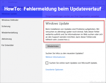 HowTo Fehlermeldung beim Updateverlauf