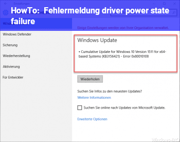 HowTo Fehlermeldung: driver power state failure