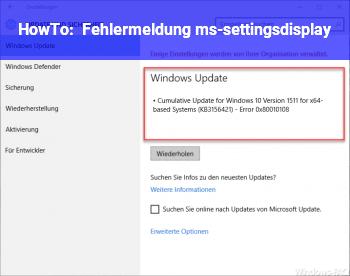 HowTo Fehlermeldung: ms-settings:display