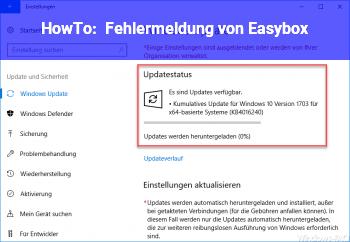 """HowTo Fehlermeldung von """"Easybox"""""""