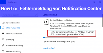 "HowTo Fehlermeldung von ""Notification Center"""