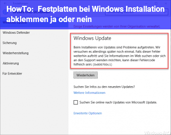 HowTo Festplatten bei Windows Installation abklemmen ja oder nein?