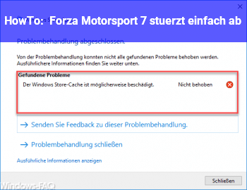 HowTo Forza Motorsport 7 stürzt einfach ab